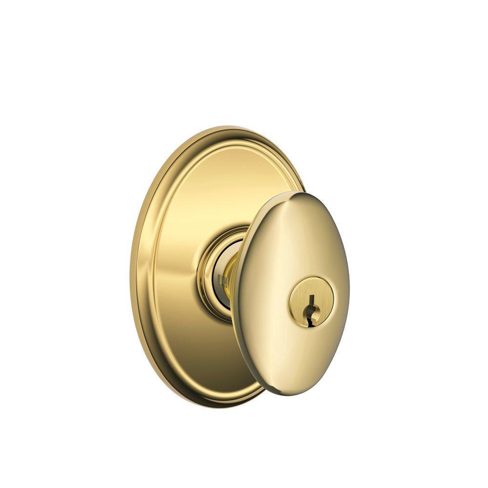 Siena Bright Brass Keyed Entry Door Knob with Wakefield Trim
