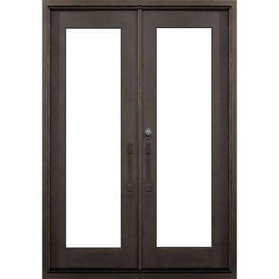 64 in. x 82 in. Marco Island Dark Bronze Classic Full Lite Painted Wrought Iron Prehung Front Door (Hardware Included)