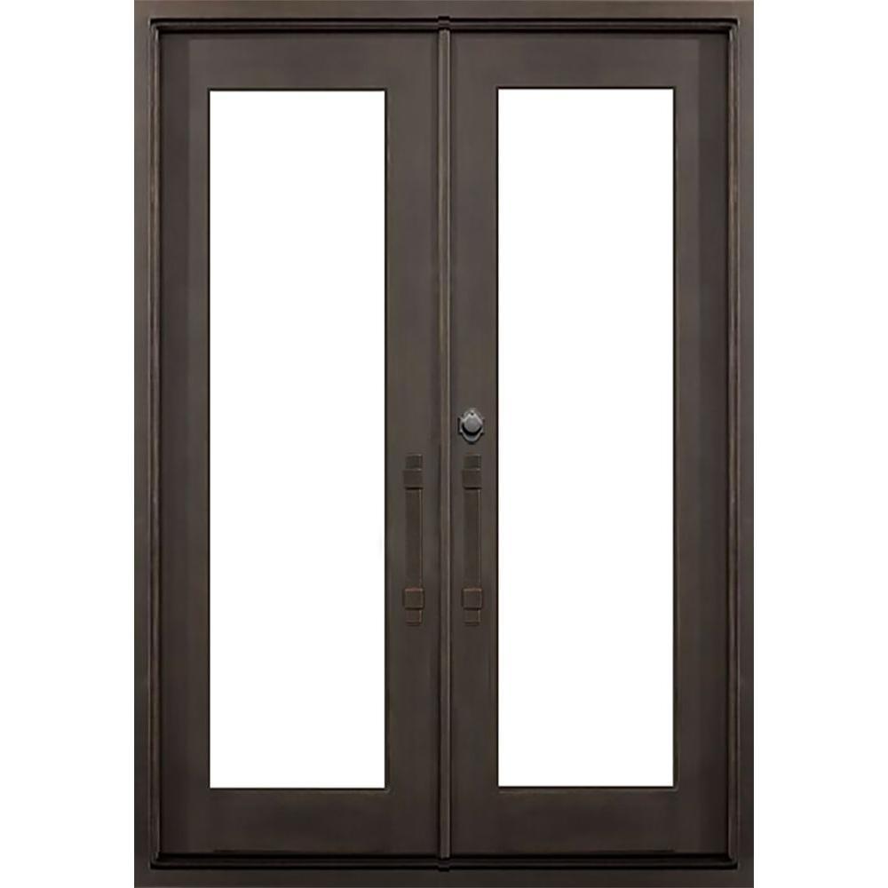 64 in. x 82 in. Marco Island Dark Bronze Classic Full Lite Painted Wrought Iron Prehung Front Door (Hardware Included)
