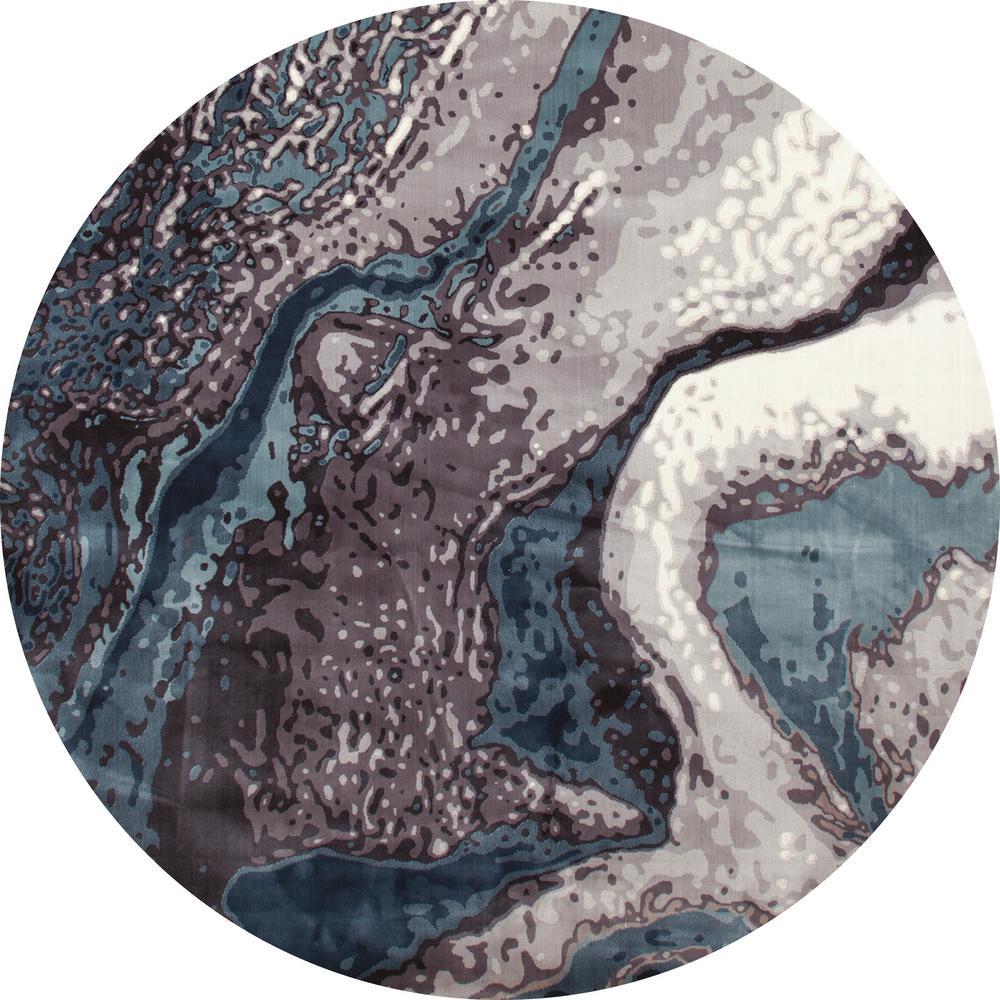 Titanium Geode Aqua 8 ft. x 8 ft. Round Area Rug