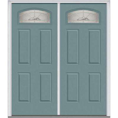 60 in. x 80 in. Master Nouveau Left-Hand 1/4 Lite 4-Panel Classic Painted Fiberglass Smooth Prehung Front Door