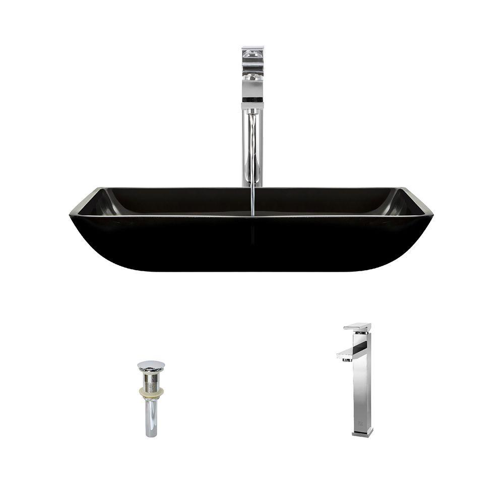 Glass Vessel Sink in Black with 721 Faucet and Pop Up Drain. Rectangle   Vessel Sinks   Bathroom Sinks   The Home Depot