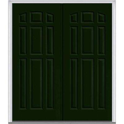72 in. x 80 in. Classic Right-Hand Inswing 9-Panel Painted Fiberglass Smooth Prehung Front Door with Brickmould