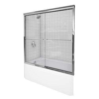 Fluence 57 in. x 55-3/4 in. Semi-Frameless Sliding Bathdoor in Bright Polished Silver with Handle