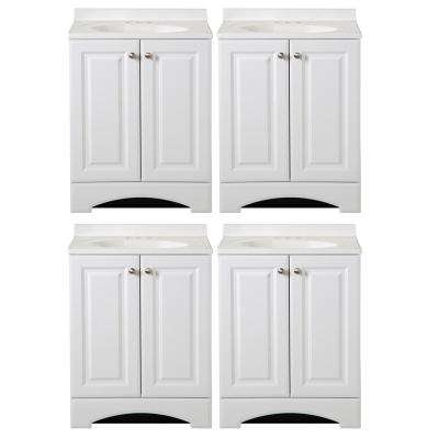 24 in. W Bath Vanity in White with Cultured Marble Vanity Top in White with White Basin - (4-Pack)