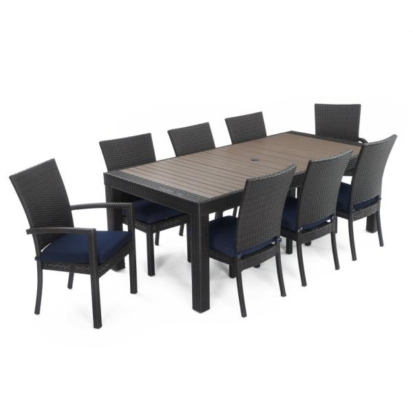 Deco 9-Piece Wicker Outdoor Dining Set with Sunbrella Navy Blue Cushions