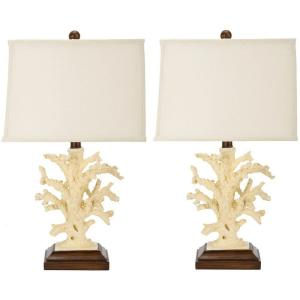 White/Cream Coral Lamp (Set Of 2)