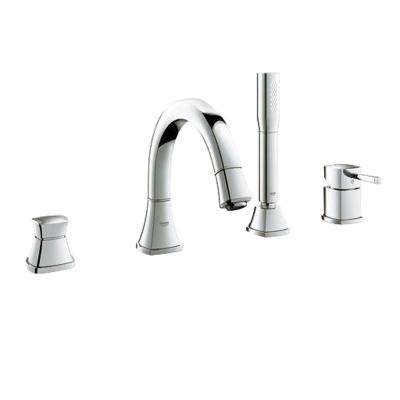 Grandera Single-Handle Deck-Mount Roman Bathtub Faucet with Personal Handheld Shower in Brushed Nickel InfinityFinish