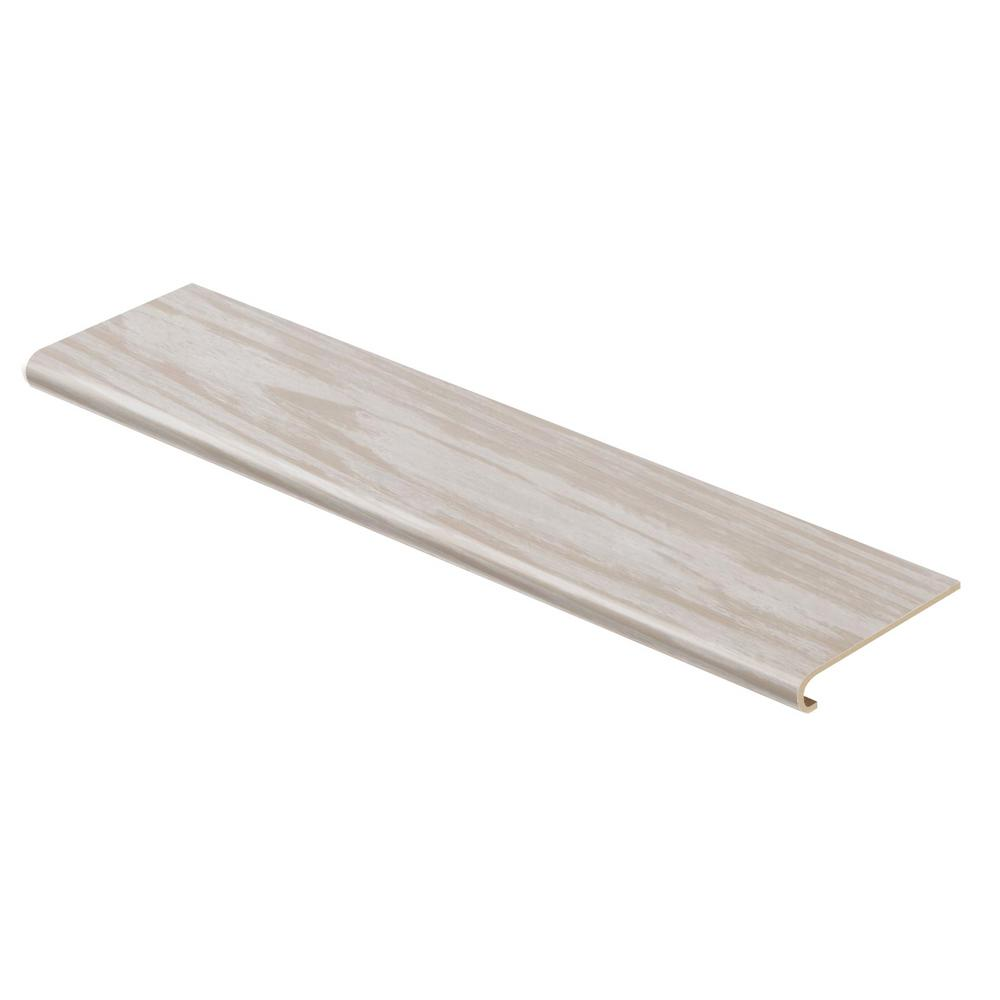 Cap A Tread Whitewashed Oak 47 in. Length x 12-1/8 in. Deep x 1-11/16 in. Height Vinyl Overlay to Cover Stairs 1 in. Thick