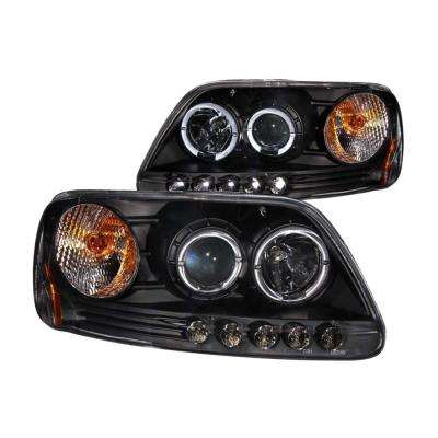 1997.5-2003 Ford F-150 Projector Headlights w/ Halo and LED Black 1pc