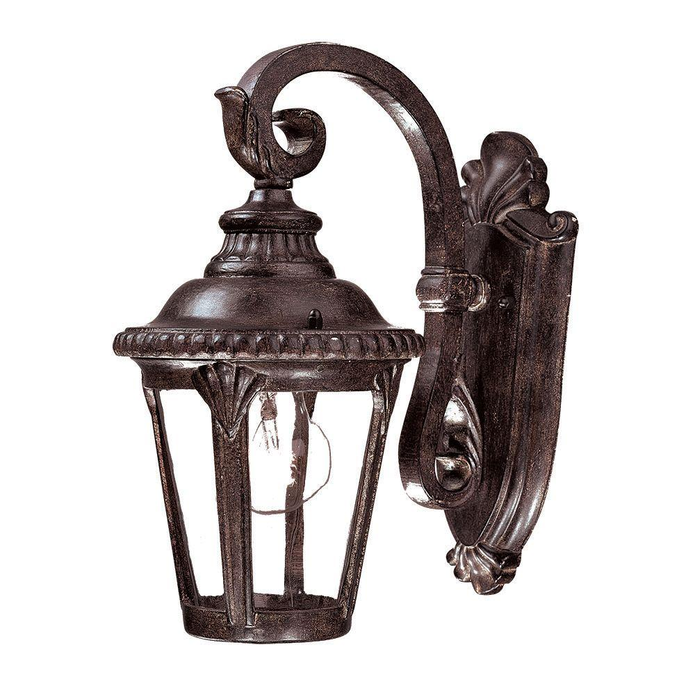 Surrey Collection 1-Light Black Coral Outdoor Wall-Mount Light Fixture