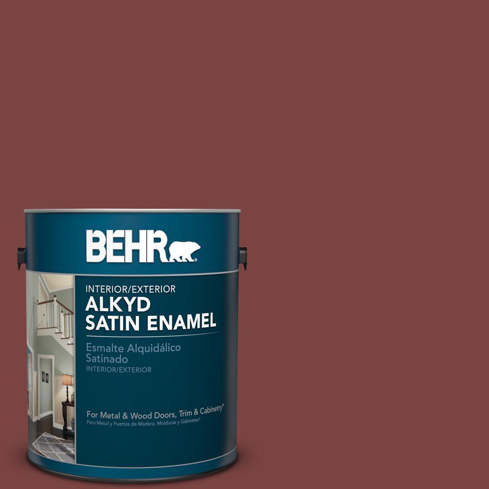 1 gal. #HDC-AC-03 Ancho Pepper Satin Enamel Alkyd Interior/Exterior Paint
