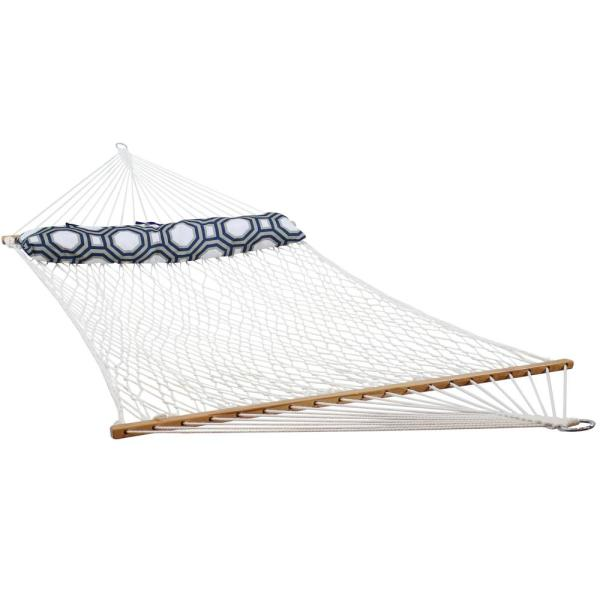 11 ft. Double Wide 2-Person Polyester Rope Hammock Bed with Pillow and Spreader Bars