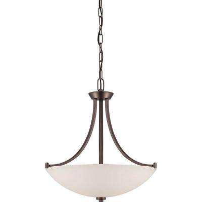 3-Light Hazel Bronze Pendant with Frosted Glass Shade