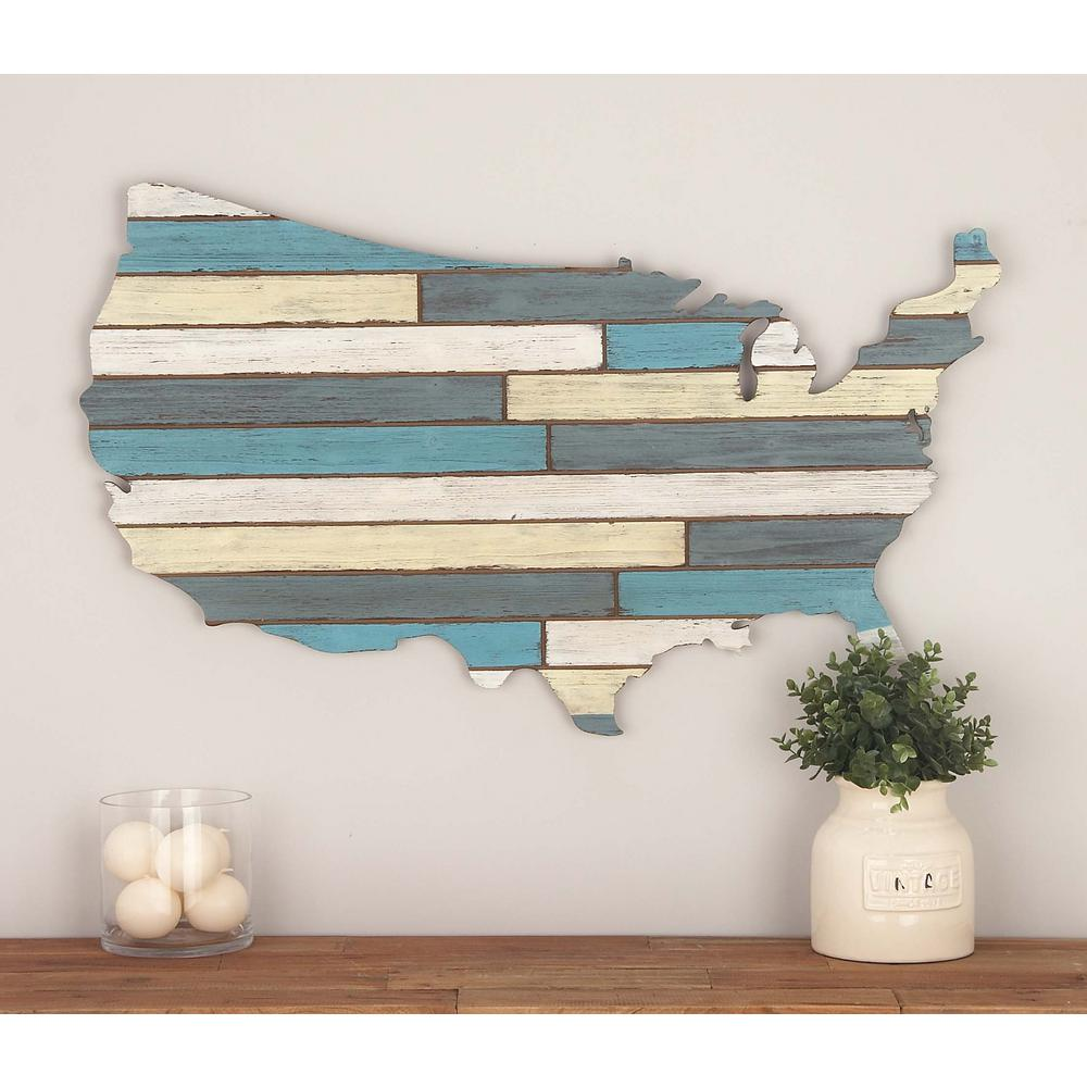 19 in. x 36 in. Wooden USA Wall Decor in Distressed