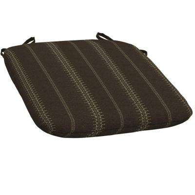 Trevor Stripe Espresso Bistro Outdoor Seat Cushion (Pack of 2)