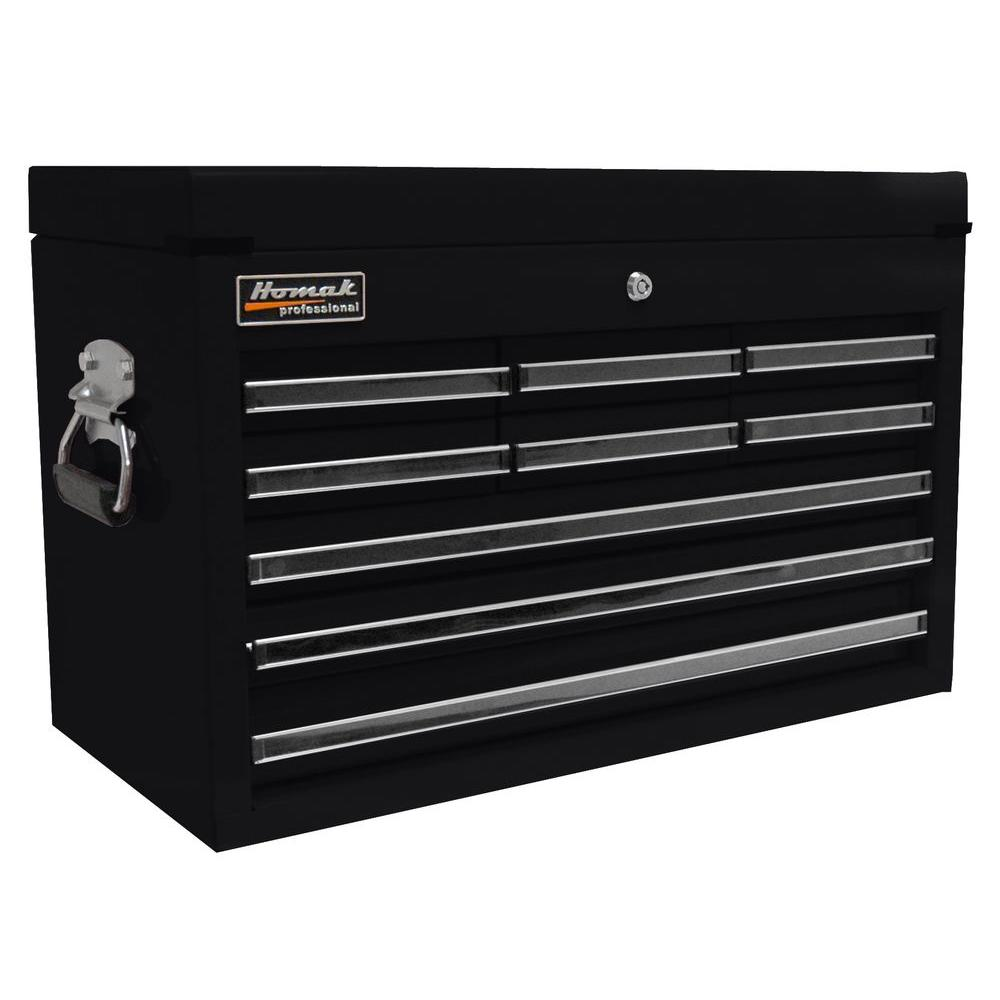Homak Professional 27 in. 9-Drawer Top Chest, Black