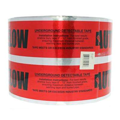 6 in. x 1000 ft. Detectable Underground Caution Tape for Buried Electrical Service Lines, Red