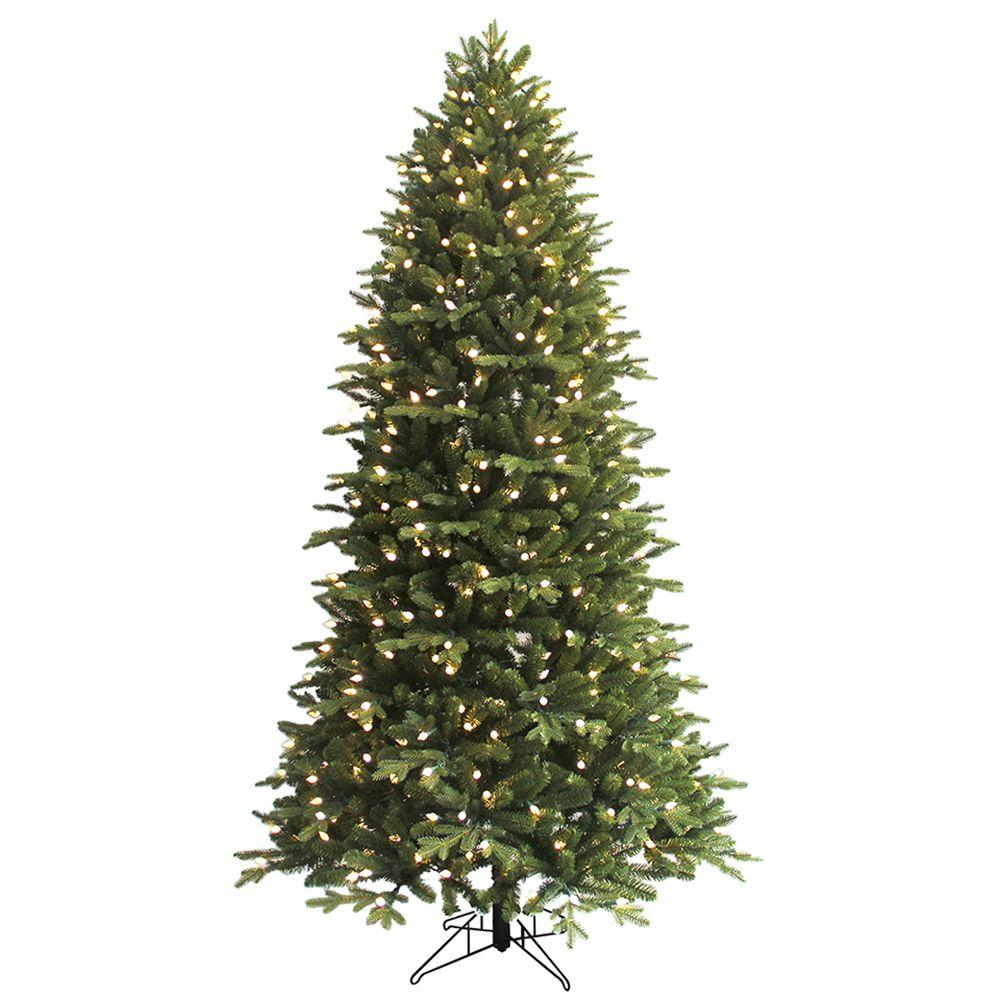 GE 7.5 ft. Pre-Lit LED Indoor Just Cut Deluxe Aspen Fir Artificial ...