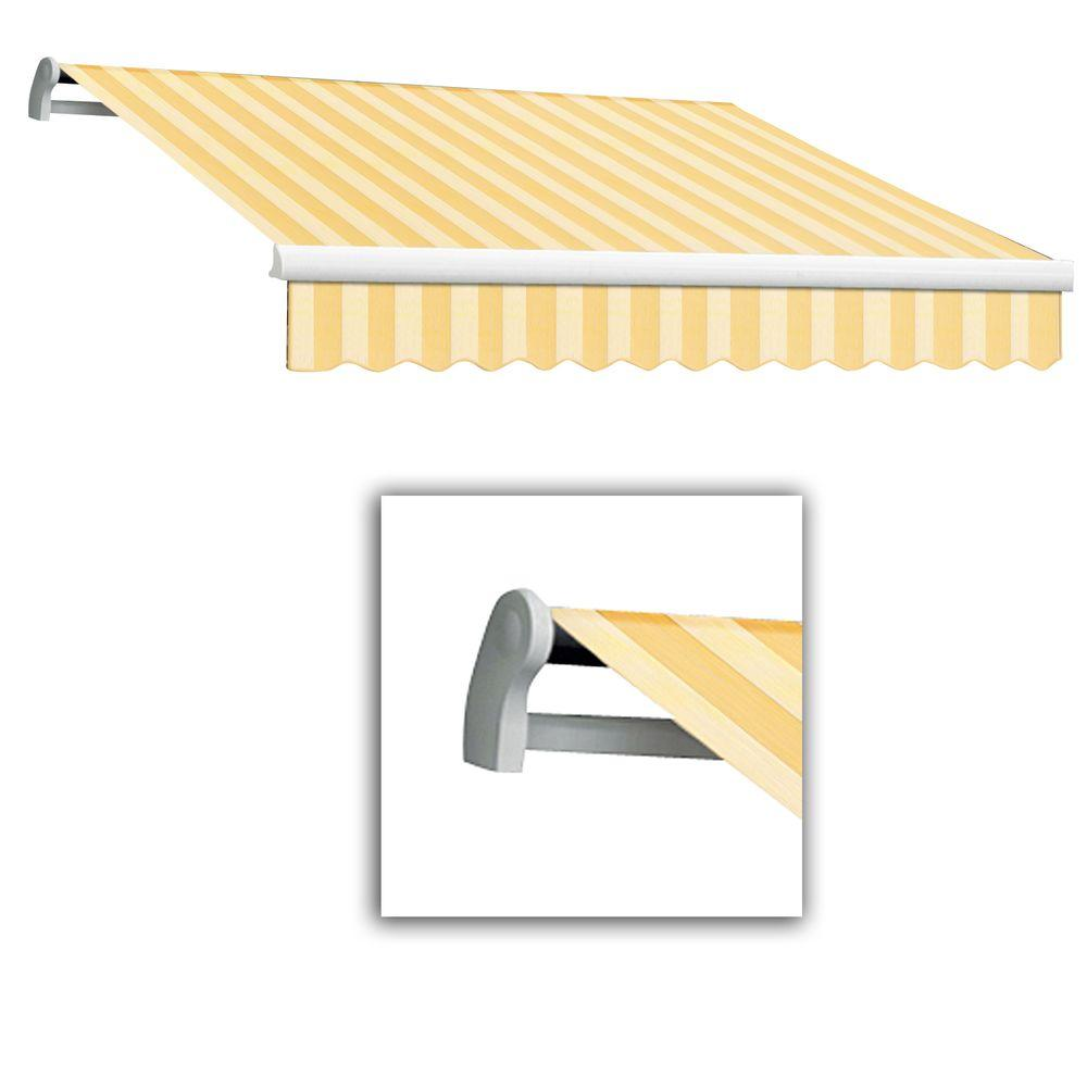 AWNTECH 14 ft. Maui-LX Left Motor Retractable Acrylic Awning with Remote (120 in. Projection) in Almond Multi