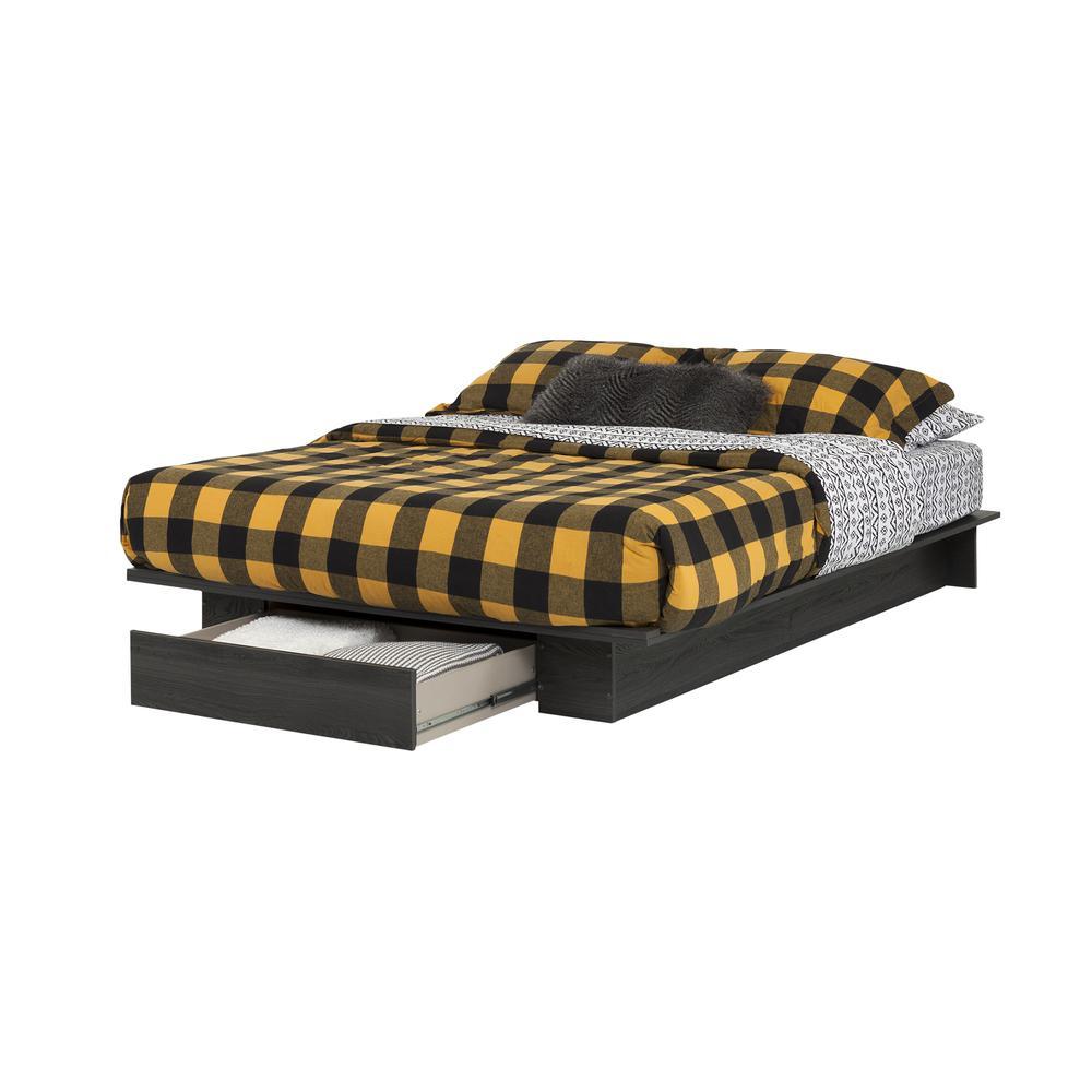 Holland Queen platform Bed, Gray Oak