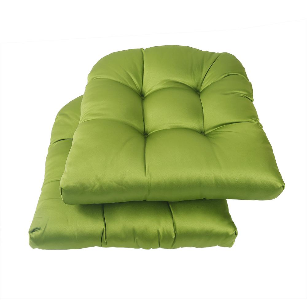 LNC Green Square Tufted Outdoor Seat Cushion (2-Pack)