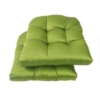 Green Square Tufted Outdoor Seat Cushion (2-Pack)