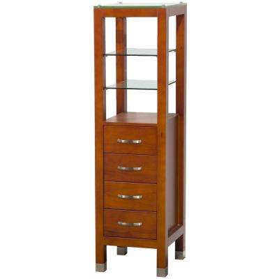 Tavello 16-1/4 in. W x 59-3/4 in. H x 16 in. D Bathroom Linen Storage Tower Cabinet in Cherry