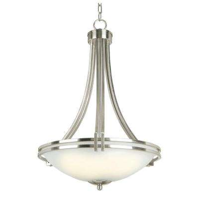 Sequoia Collection 4-Light Brown Pendant with Frosted Alabaster Glass Shade