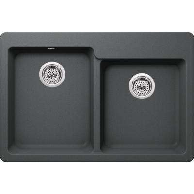 Drop-in Granite Composite 33 in. 4-Hole Offset 50/50 Double Bowl Double Bowl Kitchen Sink in Grey