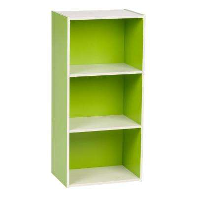 Green 3-Tier Wood Storage Shelf