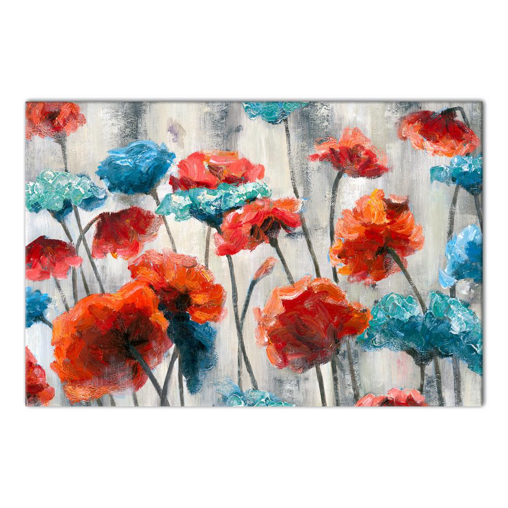20 in x 30 in blue and red flowers on gray printed canvas wall art