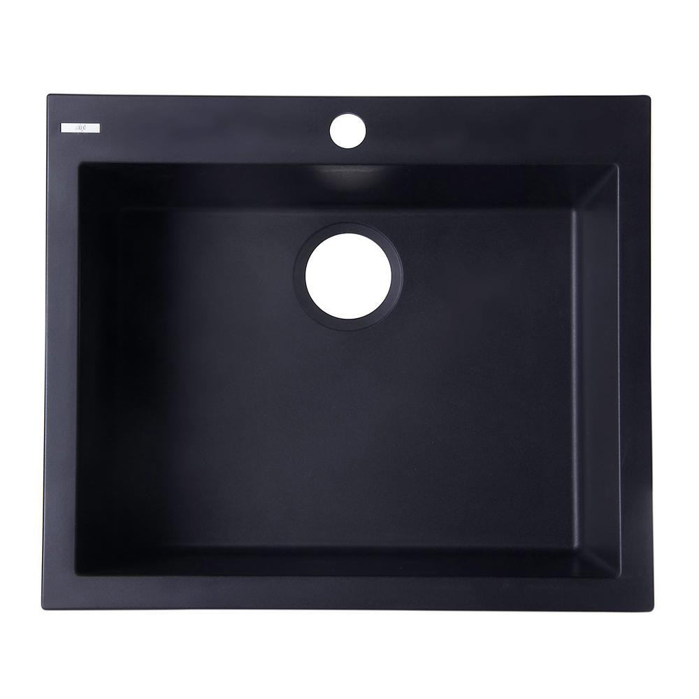 ALFI BRAND Drop-In Granite Composite 23.63 in. 1-Hole Single Bowl Kitchen Sink in Black was $366.0 now $283.65 (23.0% off)