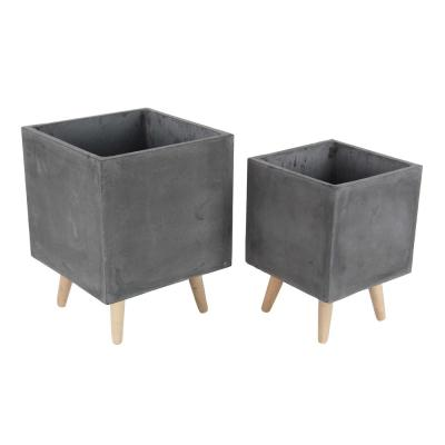Large: 18 in., Small: 15 in. Black Fiber Clay Wood Planters (2-Pack)
