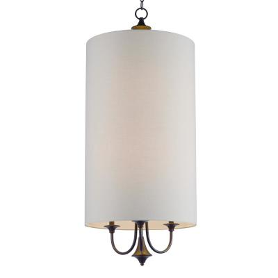Maxim Lighting Bongo 6-Light Oil Rubbed Bronze Pendant with White Fabric Shade