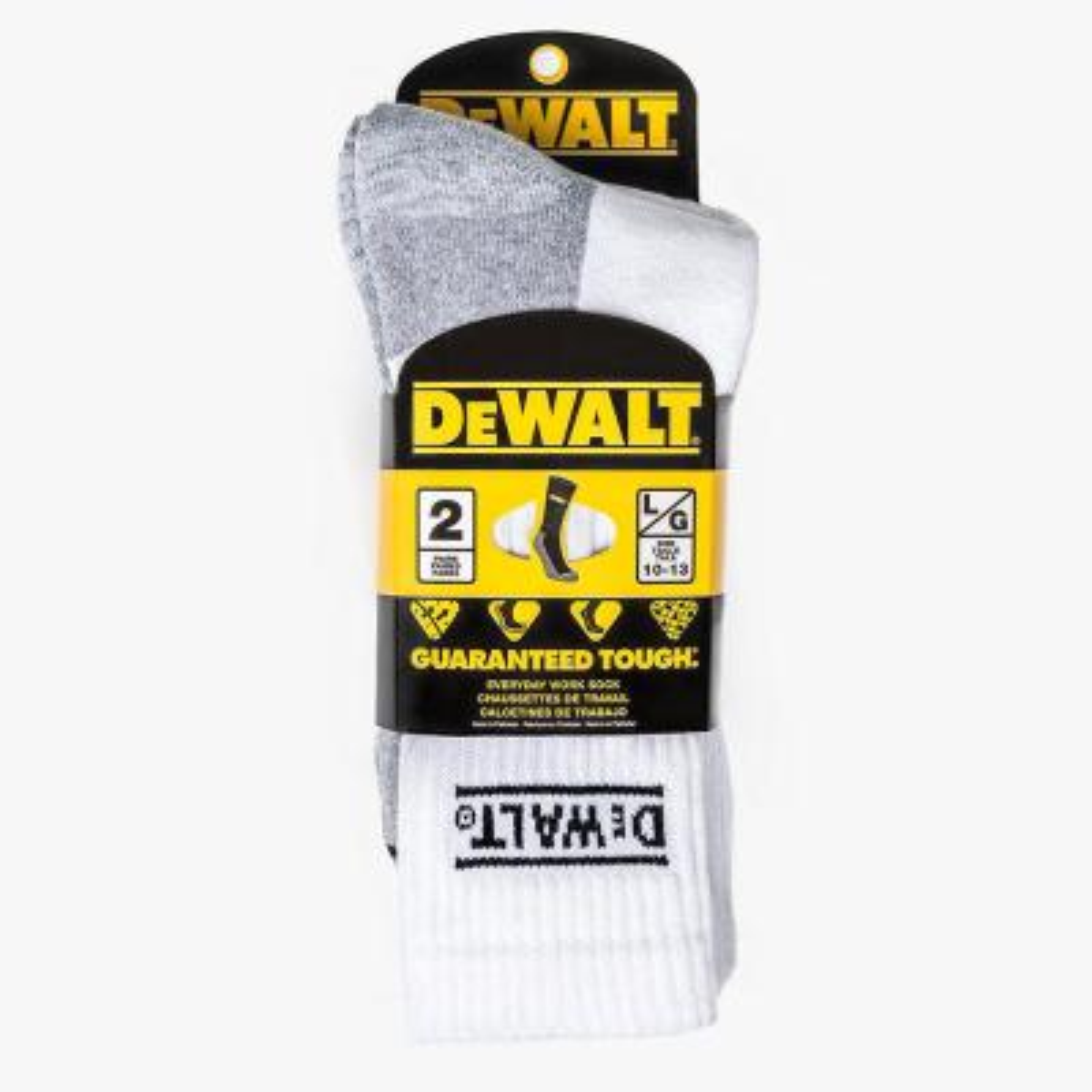 DEWALT Men 10-13 Black All-Season Cotton Crew Work Socks (2-Pack)