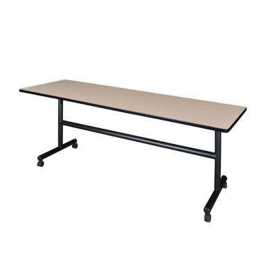 Kobe Beige 84 in. W x 24 in. D Flip Top Mobile Training Table