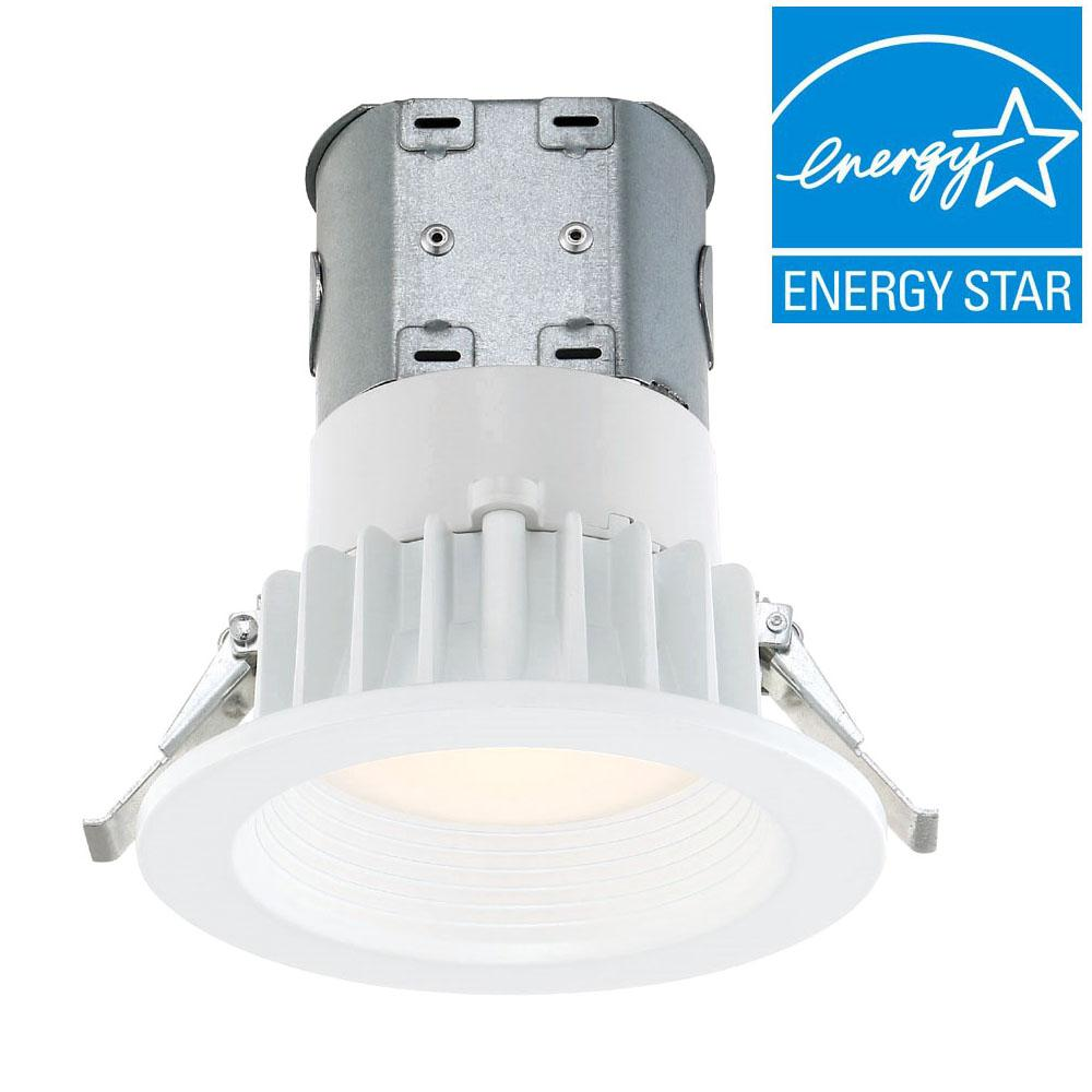 Utilitech 4 In White Integrated Led Remodel Recessed Light: Commercial Electric Easy-Up 4 In. 4000K White Baffle