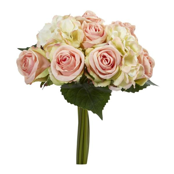 Nearly Natural Indoor 12 Rose and Hydrangea Bouquet Artificial Flower (Set