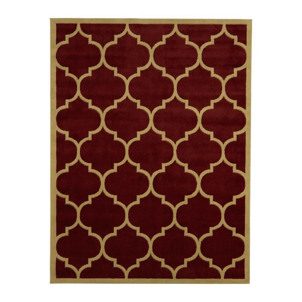 moroccan trellis dark red 5 ft x 7 ft area rug - 5x7 Area Rugs