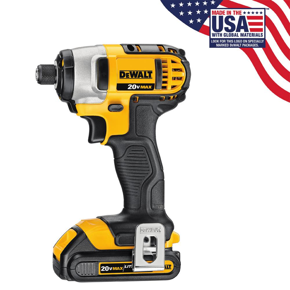 DEWALT 20-Volt MAX Lithium-Ion Cordless 1/4 in. Impact Driver with (2) Batteries 1.5Ah, Charger and Contractor Bag