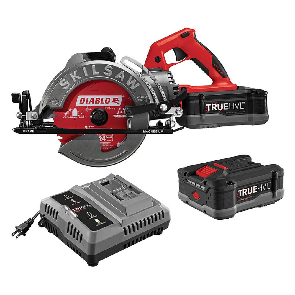 SKILSAW TRUEHVL 48-Volt Cordless 7-1/4 in. Worm Drive Saw Kit with 2 TRUEHVL Batteries and Diablo Blade