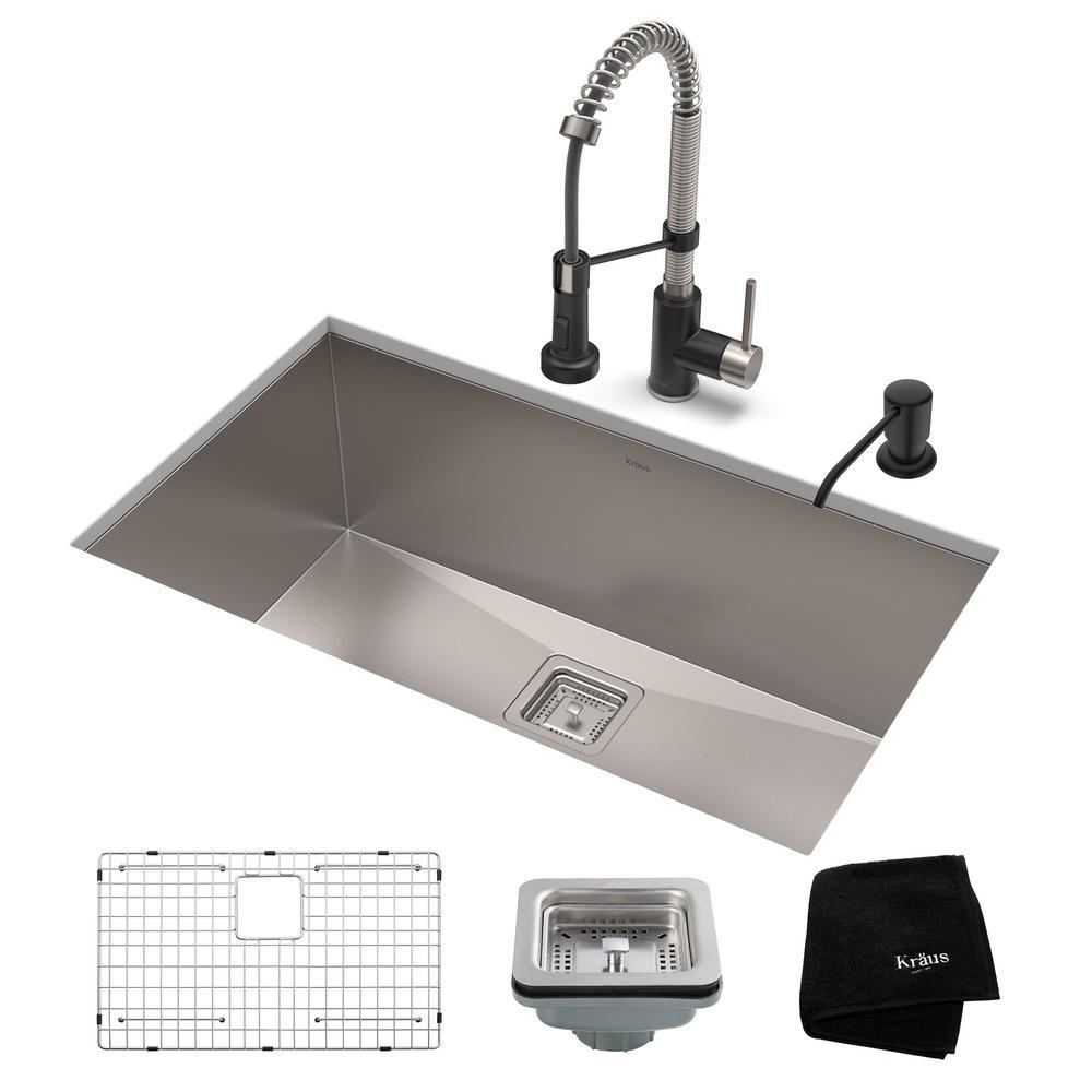Kraus Pax All In One Undermount Stainless Steel 31 In Single Bowl