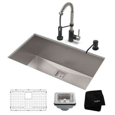 Pax All-in-One Undermount Stainless Steel 31 in. Single Bowl Kitchen Sink with Faucet in Stainless Steel/Matte Black