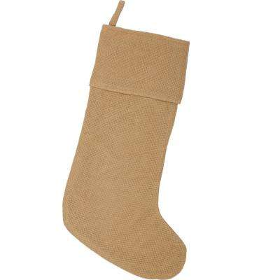 15 in. Cotton Natural Festive Burlap Farmhouse Christmas Decor Stocking