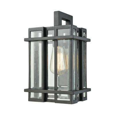 Glass Tower Small 1 Light Matte Black With Clear Outdoor Wall Mount Sconce