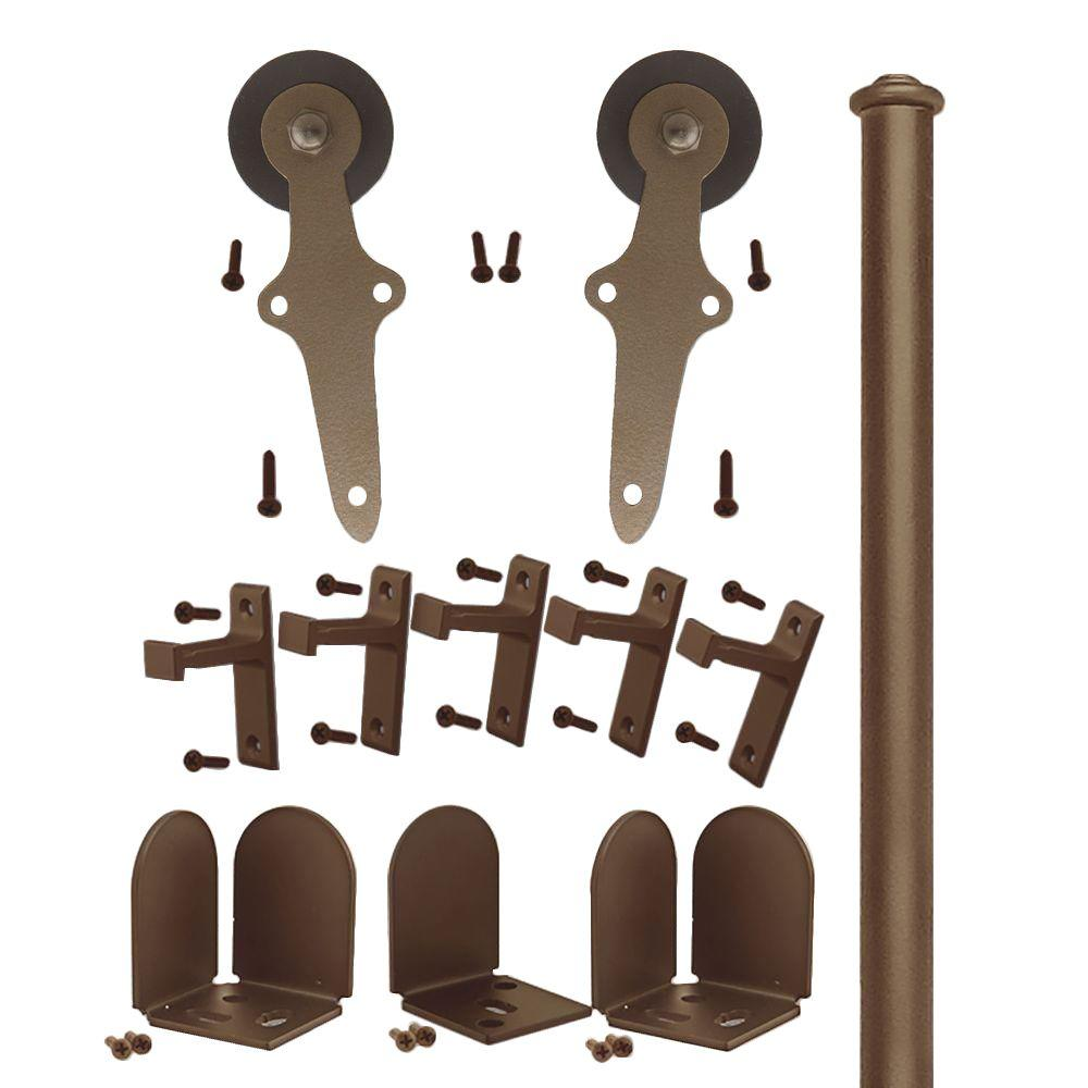 Quiet Glide 1-1/2 in. - 2-1/4 in. Wright Oil Rubbed Bronze Rolling Door Hardware Kit