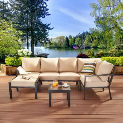 X-Back 7-Piece Metal Patio Conversation Seating Set with Beige Cushions