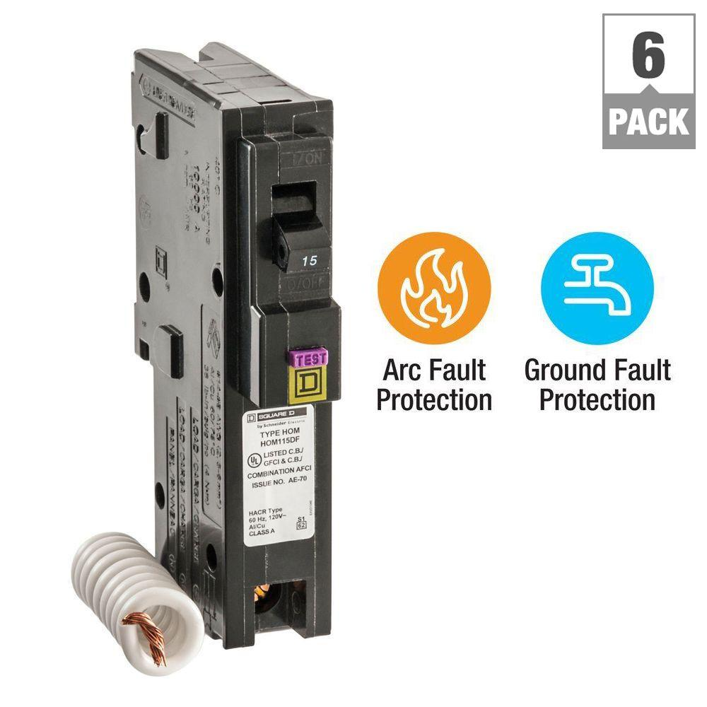 Square D Homeline 15 Amp Single-Pole Dual Function (CAFCI and GFCI) Circuit Breaker (6-Pack)