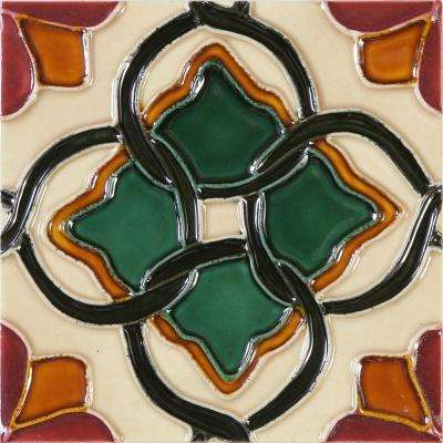 Hand-Painted Ceramic Haros 6 in. x 6 in. x 6.35 mm Glazed Ceramic Wall Tile (2.5 sq. ft. / case)